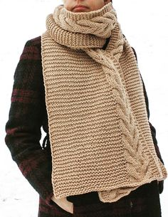 Free Knitting Pattern for Easy Toffee Scarf - Garter stitch scarf with cable along one edge. Aran weight yarn. Designed by Nadia Crétin-Léchenne. Available English and French. Rated very easy by Ravelrers