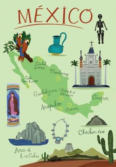 Map of Mexico: I've been seeing a lot of maps like this - with blownup iconography! Original listing (www.etsy.com/...)