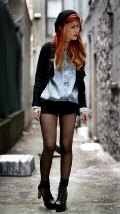 tights black shorts jean jacket shirt black cardigan