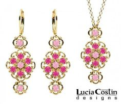 Feminine Jewelry Set: Pendant and Earrings Made of 14K Yellow Gold Plated over .925 Sterling Silver by Lucia Costin with Light Pink and Fuchsia Swarovski Crystals, Ornate with Twisted Lines Lucia Costin. $125.00. Lucia Costin jewelry set. Style takes wings in this lovely jewelry set that have a graceful flower shape. Decorated with light rose and fuchsia Swarovski crystals. Flowers and fancy ornaments beautifully combined. Handmade in USA unique jewelry set