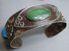 Fred Harvey Era NAVAJO Natural NEVADA TURQUOISE STERLING Silver ThunderBird CUFF