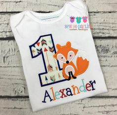 1st Birthday Fox Shirt - Woodland Birthday Shirt - Baby Boy Fox Birthday Outfit -  Tribal Birthday shirt - Tribal Fox Birthday Shirt