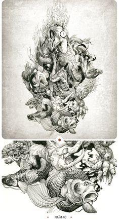 Olivier dzo - inkstinctive ii on behance illustration график Art And Illustration, Magazine Illustration, Illustrations And Posters, Drawing Sketches, Art Drawings, Crayons Pastel, Desenho Tattoo, Tatoo Art, Pen Art