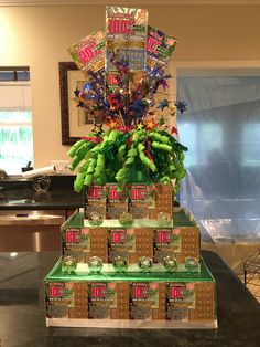 Pin by Dana Alcorn on gift ideas Theme Baskets, Raffle Baskets, Gift Baskets, 70th Birthday Parties, Birthday Gift For Him, Lottery Ticket Gift, Creative Money Gifts, Money Cake, Grad Gifts