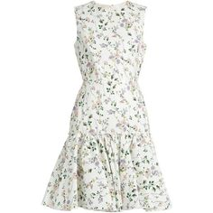 Giambattista Valli Floral-print sleeveless faille dress (15,455 HKD) ❤ liked on Polyvore featuring dresses, vestidos, white print, sleeveless dress, ruffled dresses, white floral print dress, flower pattern dress and floral dresses