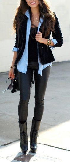 #fall #fashion / all black + denim shirt