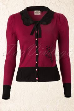 CLOTHING: 40s Vintage Peter Pan Cardigan in Burgundy Source: Top vintage retro boutique (Item available for $40)