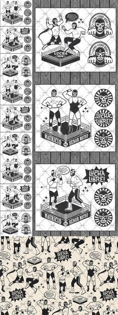 Lucha Libre Vintage Set Mexican Wrestler, Breakfast Tacos, Poster Pictures, Mexican Folk Art, Zine, Creatures, Collage, David, Wrestling