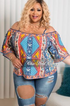 Plus Size Spaghetti Strap Off the Shoulder Top In Orange and Blue – Chic And Curvy