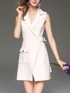 Shop Mini Dresses - Beige Elegant Slit Plain Lapel Mini Dress online. Discover unique designers fashion at StyleWe.com.