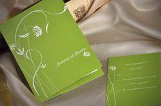 green theme wedding invitations