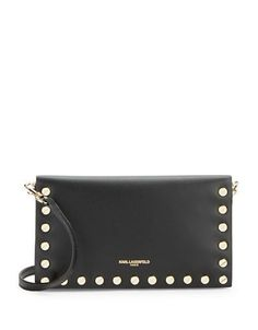 Karl Lagerfeld Paris Studded Leather Crossbody Women's Black/Gold