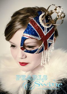 Queens Jubilee British Union Jack Half Mask Fascinator Gold Crown Hat Ascot Pearls Glitter Avant Garde Fashion  Headdress by Pearls & Swine.  via Etsy.