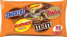 "Four of your Mars Favorites in this 43.09oz bag. Assortment includes Plain M&M's, Twix, Snickers and Starburst all in bite-size pieces. Each is individually wrapped. You get 85 pieces per bag. Great for when you need just that little ""something"" to satisfy your sweet craving. Great as a Halloween Treat!"