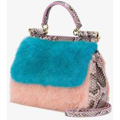 Dolce & Gabbana mink fur and python 'Sicily' tote (€1.580) ❤ liked on Polyvore featuring bags, handbags, tote bags, python tote, tote bag purse, top handle handbags, blue tote and snake print handbags