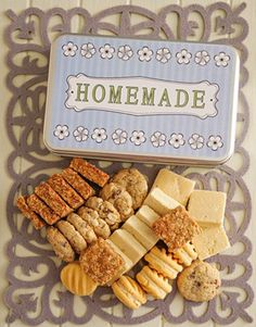Buy or Send a gift tin containing homemade cookies such as Crunchie, Custard, White choc chip and Shortbread cookies in South Africa. Cupcakes Delivered, Tin Gifts, Homemade Cookies, Shortbread Cookies, Freshly Baked, Custard, South Africa, Cupcake Cakes, Biscuits