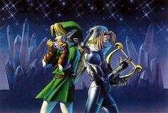 Adult Link and Sheik (Princess Zelda's alter ego) - The Legend of Zelda: Ocarina of Time; Official artwork for the game