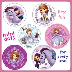 Sofia the First Stickers - 48 Dots - 8 Sheets - Reward Charts - Birthday Favours