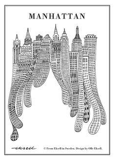 manhattan, olle eksell, eksell, new york, art print, poster