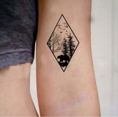 Beautiful bear and woods temporary tattoo