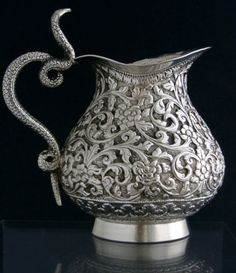 Anglo-Indian sterling silver repoussé pitcher, with cast snake (cobra) handle - Kutch region, India c1890 (spidermonkey10)