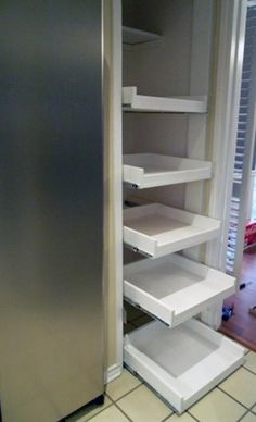 DIY tutorial ~ how to make pull out shelves for your pantry. Tons of amazing DIY home projects  tips.