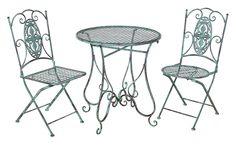 Gartenset Metall Kupferpatina 1Tisch 2Stühle Gartenmöbel Balkonmöbel Garten  Set #gartenmoebelset #gartenstuehle #gartentische #