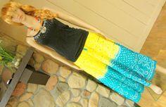 Yellow and Blue Tie-Dye Mirror Work Bandhani Skirt