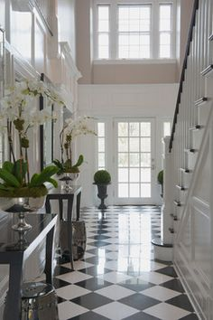 UPDATED GREENWICH RESIDENCE - traditional - entry - other metro - Susan Glick Interiors. black & white floor.