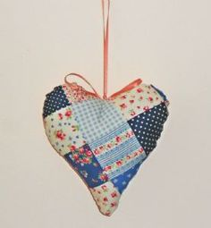 Handmade Fabric Hanging Heart Decoration Blue and Pink Patchwork Hanging Hearts, Heart Decorations, Soft Furnishings, Wedding Bridesmaids, Home Accessories, Personalized Gifts, Shabby, Hand Painted, Fabric