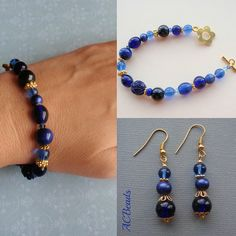 Bright blue bracelet with matching earrings by #ACBeads, via Flickr- for sale on my blog for 10 euros