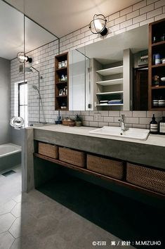 and wood bathroom. Very industrial. I love itConcrete and wood bathroom. Very industrial. Bathroom Toilets, Wood Bathroom, Bathroom Interior, Small Bathroom, Bathroom Remodeling, Remodeling Ideas, Bathroom Ideas, Bad Inspiration, Bathroom Inspiration