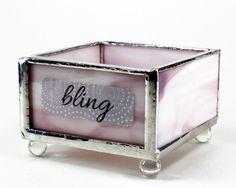 Purple Glass Tray Small Organizer Box Catch All Tray Desk