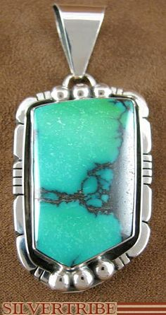 Native American Indian Genuine Sterling Silver And Turquoise Slide Pendant