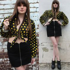 http://www.etsy.com/listing/96997718/80s-mod-polka-dot-yellow-and-black-crop $38.00