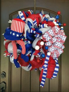 New Uncle Sam Patriotic Wreath Tutorial - 2016 Supplies Silver Pencil Ball Wreath (other colors can be used or style) Red Wide Foil Wreath Crafts, Diy Wreath, Door Wreaths, Wreath Making, Patriotic Wreath, 4th Of July Wreath, Mesh Garland, Poinsettia Wreath, Wreath Supplies