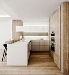 Check Out 17 Contemporary U-shaped Kitchen Design Ideas. The U-shape kitchen layout is also known as the horseshoe; this kitchen layout has three walls of cabinets or appliances. Best Kitchen Designs, Modern Kitchen Design, Interior Design Kitchen, Modern Design, Kitchen Room Design, Space Kitchen, Minimal Design, Modern Decor, Modern U Shaped Kitchens