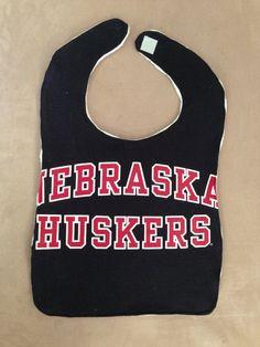 Upcycled TShirt Bib  Nebraska Huskers  Black by MnStyle on Etsy, $13.00
