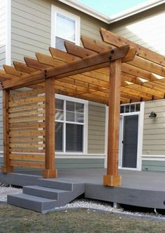 The pergola kits are the easiest and quickest way to build a garden pergola. There are lots of do it yourself pergola kits available to you so that anyone could easily put them together to construct a new structure at their backyard. Diy Pergola, Pergola Canopy, Deck With Pergola, Wooden Pergola, Outdoor Pergola, Pergola Shade, Pergola Plans, Backyard Patio, Outdoor Spaces
