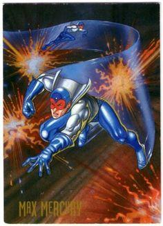 52- Max Mercury  Poco se sabe acerca de Max Mercury, el superveloz que ayudó a entrenar a Jay Garrick (Flash de la Era de Oro) y a Johnny Quick antes de su desaparición a finales de los años 40. Hace poco resurgió para ayudar a Wally West, Flash actual, pero la edad de Max y su fuente de poder siguen siendo un misterio. Superveloz, acróbata, filosofo Zen, Max puede tener el mismísimo secreto de la velocidad.