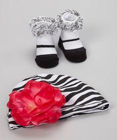 Black & White Ruffle Socks & Flower Beanie by Stepping Stones #zulily #zulilyfinds
