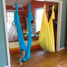 indoor swing How to install a Sensory Swing, easy steps to DIY - Fort Birthday Sensory Swing, Sensory Toys, Diy Fort, Diy Swing, Kids Room Design, Playroom Design, Indoor Playground, Diy For Kids, Kids Playing