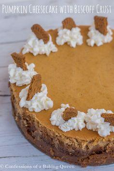 Pumpkin Cheesecake with Biscoff Crust www.confessionsofabakingqueen.com
