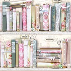 Pink Collage Bookcase Wallpaper | Departments | DIY at B&Q
