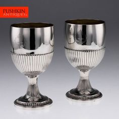 ANTIQUE 19thC GEORGIAN SOLID SILVER PAIR OF LARGE GOBLETS, STEPHEN ADAMS c.1803