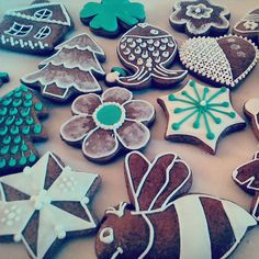 Honey cookies decorated by white and green sugar glaze.