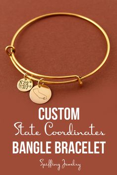 Personalize this adjustable bangle with any state, with a heart over your city. We'll add the latitude and longitude coordinates, too!