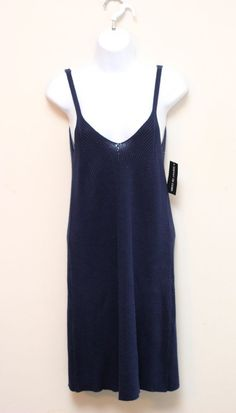 Esprit Blue V-Neck Tank Sleeveless Sweater Dress Size M #Esprit #SweaterDress
