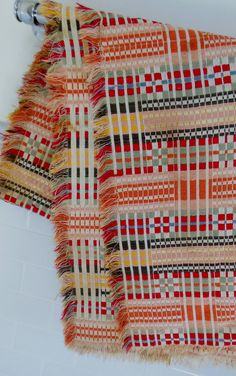 handwoven throw. has long floats, but an interesting design - many double weave blocks, maybe?
