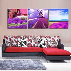 3 Piece Unframed Wall Art Picture Home Decoration Modern Lavender Canvas Painting Print Art Romantic Purple Flower Oil Painting Custom Canvas Prints, Canvas Art Prints, Painting Prints, Canvas Wall Art, Painting Canvas, Purple Flower Pictures, Purple Flowers, Love Wall Art, Modern Wall Art